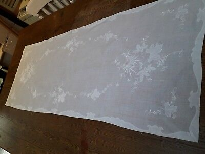 Vintage Table Runner Hand Embroidery White Cotton Fine Dining