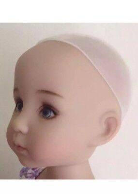 "New Secure Soft SILICONE Doll Wig Cap 7-8"" Fits Effner Little Darling, BJD's Etc"
