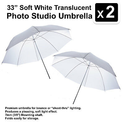2 x 33 inch White Soft Translucent Photo Studio Umbrella Photography Light Video