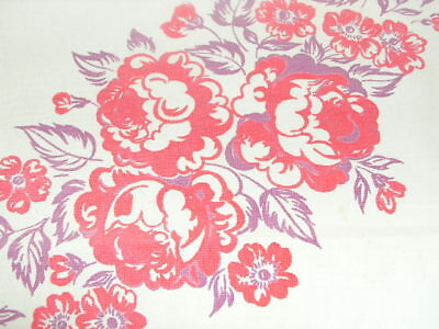Vintage Cotton Print Tablecloth Red & Purple Flowers Print 40's Tablecloth