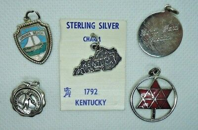 Lot of vintage sterling souvenir charms Kentucky Virginia Beach  Cypress Gardens