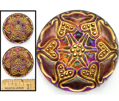27mm Vintage Czech Glass PURPLE Fire AB 6-Point Lace Nailhead STAR Buttons 2pc