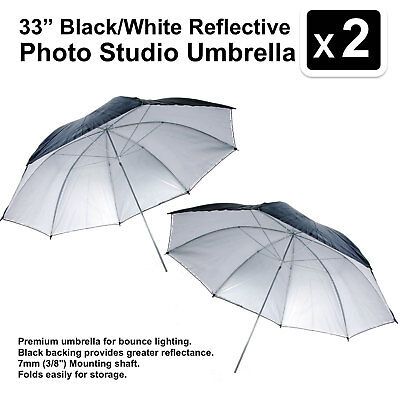 2 x 33 inch Black/White Reflective Photo Studio Umbrella Photography Light Video