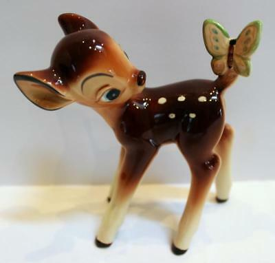 Vintage 1960s DISNEY BAMBI Ceramic Figurine with Butterfly on Tail JAPAN EUC