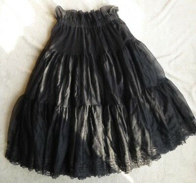 Black Lacy Multi-Layered SQUARE DANCE PRAIRIE PETTICOAT Size M