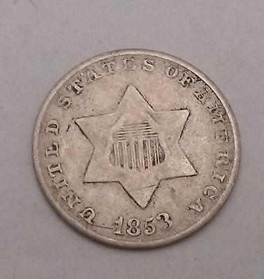 1853 Three Cent Coin USA Silver 3c Very Fine