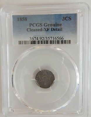 1858 Three Cent Silver 3CS PCGS Details XF