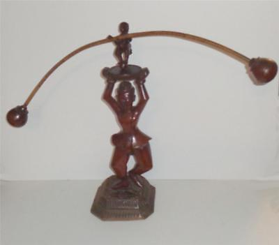 Antique Chinese ? Carved Wood Kinetic Figure Balancing Figure 21""