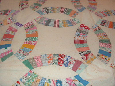 Old Double Wedding Ring Quilt Top Vintage Quilt Top Cotton Quilt Wedding Ring
