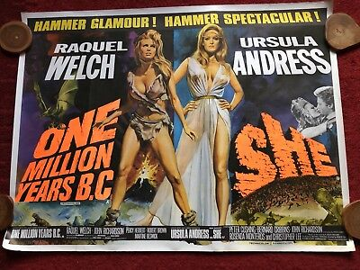 VG Original Rolled SHE ONE MILLION YEARS BC Raquel Welch Quad Movie POSTER Rare