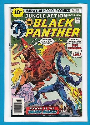 "Jungle Action #22_July 1976_Vf+_Black Panther_""the Death Rider""_Bronze Age Uk!"