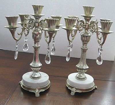 """PAIR CANDELABRA PAIR 12 1/2"""" TALL 5 Candle Hollywood Regency VALENTINE GIFT"""