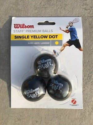 Wilson Staff Premium Squash Balls, Single Yellow Dot - Pack of 3. New & Unopened
