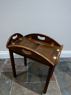 Vintage Butler's Tray Table, folding sides, mahogany, oval, coffee table