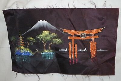 Vintage Original Asian Textile Painting Signed Art Unframed Chinese or Japanese