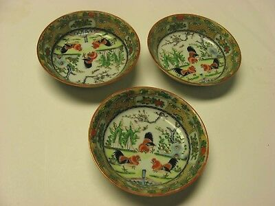 3 Chinese Export Rooster Famille Rose  Bowls