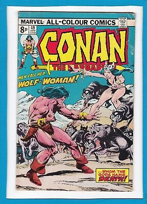 "Conan The Barbarian #49_April 1975_Fine Minus_""men Call Her...wolf-Woman""_Uk!"