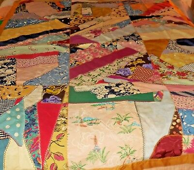 Crazy Quilt vintage twin with old feather stitching-quilts-bedding