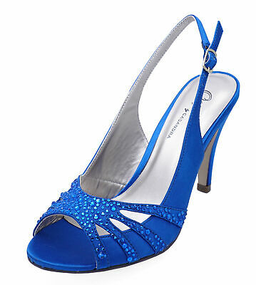 Ladies Blue Open-Toe Slingback Diamante Wedding Evening Party Prom Shoes Uk 3-8