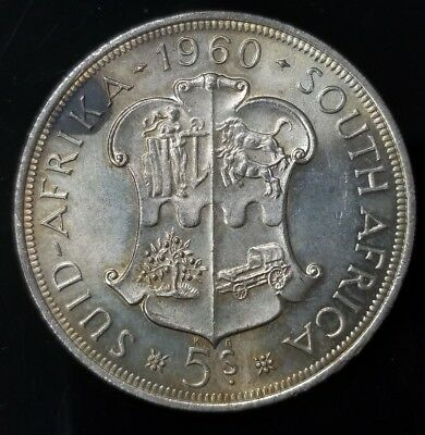 1960 South Africa 5 Shillings .500 Silver Coin [SC6547]