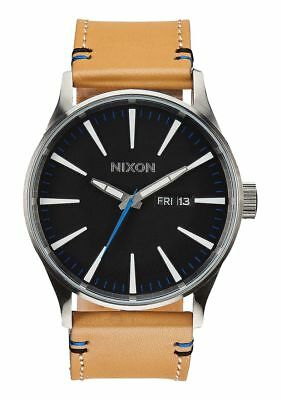 8390ea99e22   brand New   Nixon Watch Sentry Leather Natural Black A1051602 New In Box