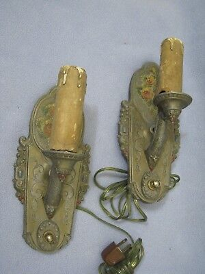 Pair of Antique Cast Aluminum Wall Sconces By the Riddle Design Co.