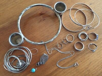 STERLING SILVER Jewelry Lot Scrap or Not 110g Bangle Bracelets Rings Necklace +