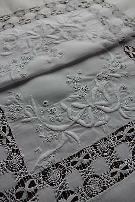 Vintage superb hand embroidered snow white Irish linen table topper.
