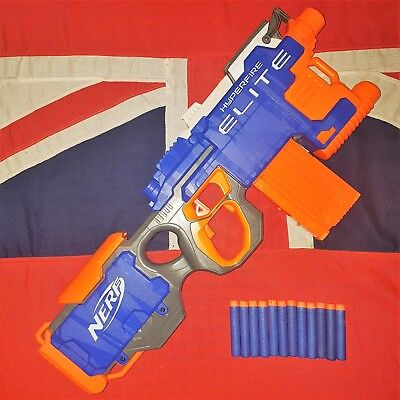 Nerf Elite Hyperfire Rapid Fire Machine Gun Blaster 12 Dart Clip Magazine BUNDLE
