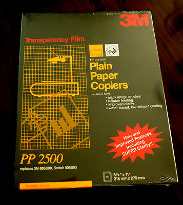 3M TRANSPARENCY FILM for Plain Paper Copiers PP2500  NEW 100 ct. Sealed Pack