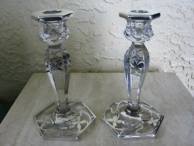 Antique Art Nouveau Candlesticks with Silver Overlay by E. A.M.