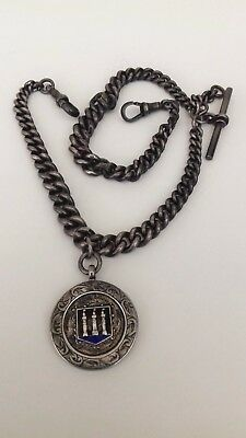 Antique Sterling Silver Double Albert Pocket Watch Chain  Fob and t-bar.