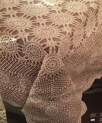 "NIP HUGE HAND CROCHETED COTTON 90"" Round TABLECLOTH Lace BEIGE Scalloped Edges"
