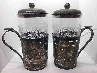 Vintage 2 Shanghai Tang DRAGON Silver Tea Glass or Beverage Holders Chinese