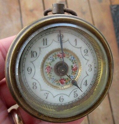 Vintage Porcelain Face Small Clock For Parts Or Rapair