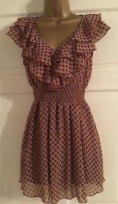 Pretty New Look Ditsy Floral Frill Front Skater Dress Sz 8
