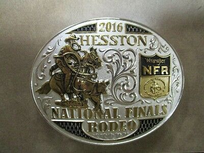 """2016 Hesston National Two Toned Finals Rodeo """"Adult"""" Belt Buckle Gold/Silver NIB"""