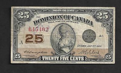 "Canadian Money: 1923 .25¢ Shinplaster Dominion Of Canada, Paper, 2 1/2"" X 4 1/2"""