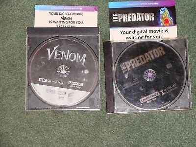 Venom & The Predator 2018 4K Ultra Hd Blu-Ray Disc Digital Code Only Ultraviolet
