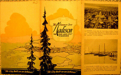 This Summer See Madison The Four Lake City Wisconsin/ca 1930/12 Panel Map Revers