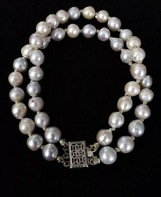 Vintage BAROQUE PEARL. Hand Knotted 2 ROW Bracelet~Sterling Silver AKOYA Pearls