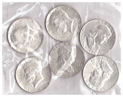 US $3.00 FACE VALUE OF SILVER HALF DOLLARS, 1964 or EARLIER, SIX (6) COINS TOTAL