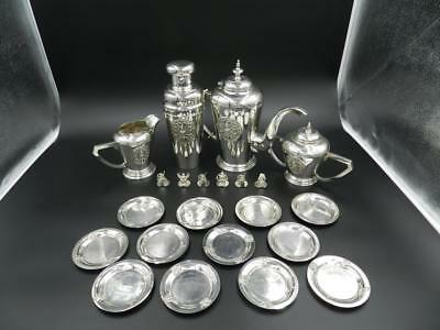 STERLING SILVER TEA SET W/SHAKER, NUT DISHES, PLACE HOLDERS-67.6 Oz LARGE SET