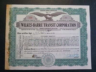 Wilkes-Barre Transit Corporation stock certificate, 1955