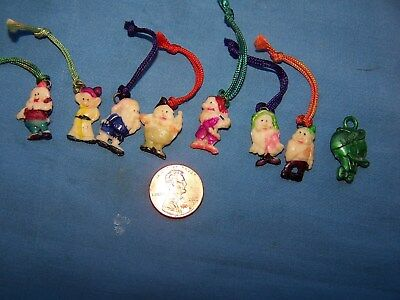 Vintage Celluloid Disney 7 Dwarfs Cracker Jack Charms, Prizes + Louis Nephew