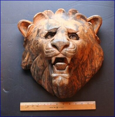 Vintage Carved Wooden Carousel Circus Roaring Lion Head Plaque Wall Mount
