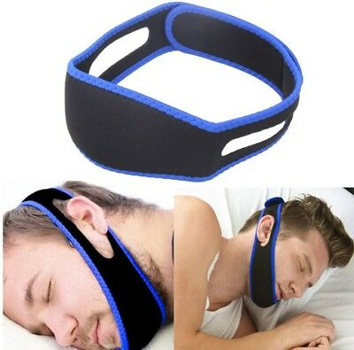 Home Snore Stop Anti Snoring Cpap Chin Strap Sleep Apnea Jaw Solution TMJ BLUE