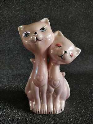 Figurine céramique Chat vintage rose irisé eyelash kitty kitsch long cou luster