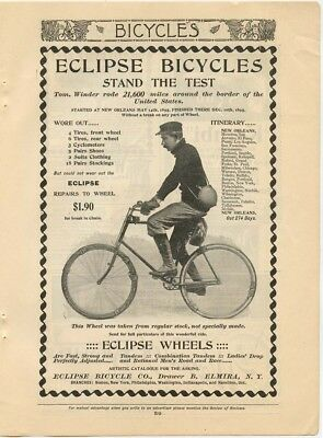 (2) Original 1896 Magazine Bicycle Ads - Eclipse Bicycles, Iver Johnson, NY Tire