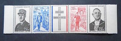 1971 Charles De Gaulle Strip France Reunion Vf Mnh  V100.8 Start 0.99$